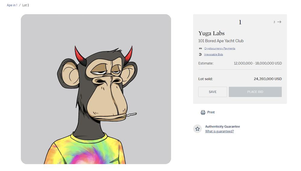 Bored Ape Yatch Club Auction